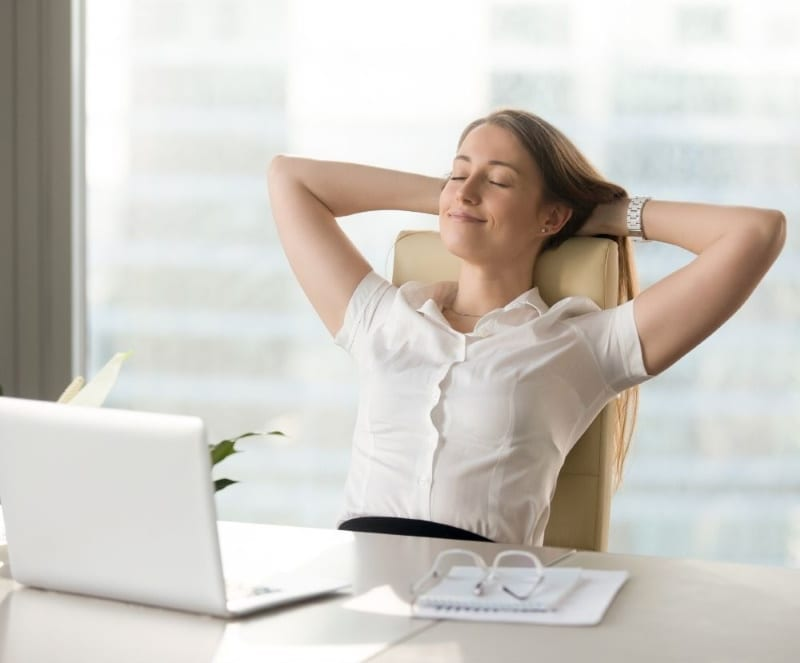woman relaxing after learning how to conquer stress