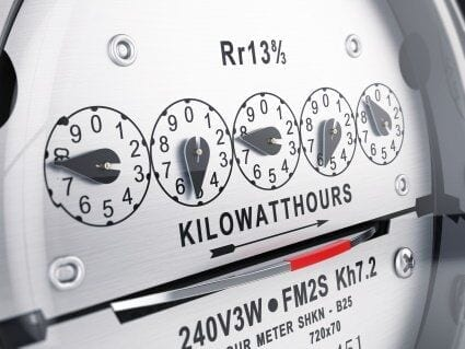 close up of a home electric meter