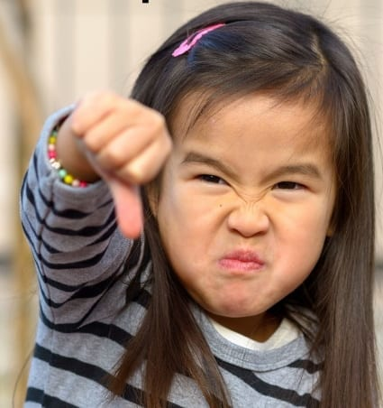 Do you want to end temper tantrums? Girl with a thumbs down motion