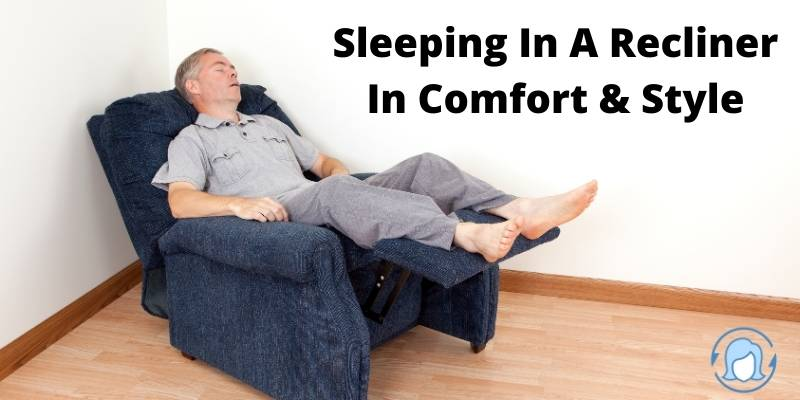 man sleeping in a blue recliner bed chair